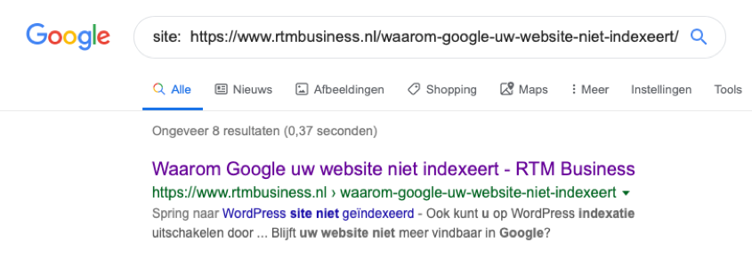Website indexatie check